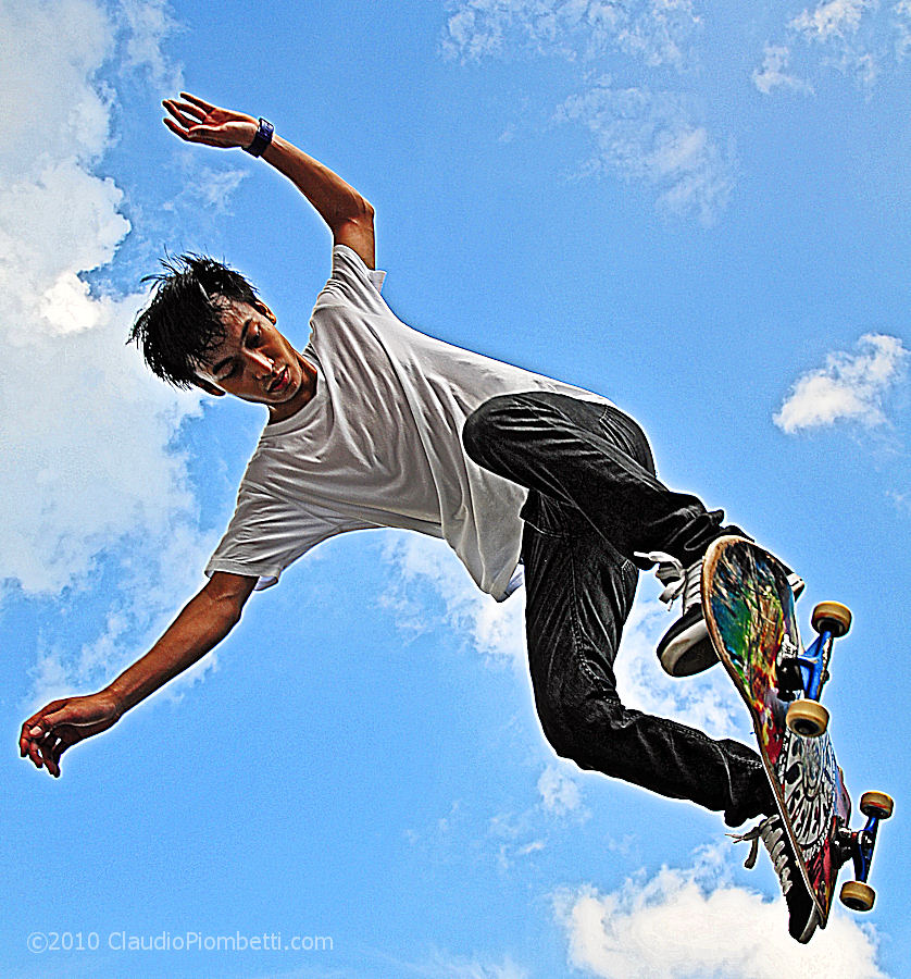 A skateboarder at Somerset MRT, Singapore